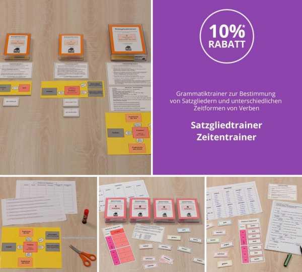 Grammatiktrainer zur Bestimmung von Satzgliedern und unterschiedlichen Zeitformen von Verben